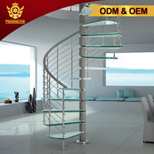 Custom Made Design Inside Home Used Metal Glass Round Shaped Floating Stairs Indoor Tempered Glass Curved Spiral Staircase