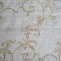 European design embroidery sheer voile curtain fabric for windows drapes 74ST