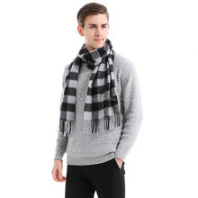 Best selling romantic soft winter plaid 100% cashmere knitted men's scarf