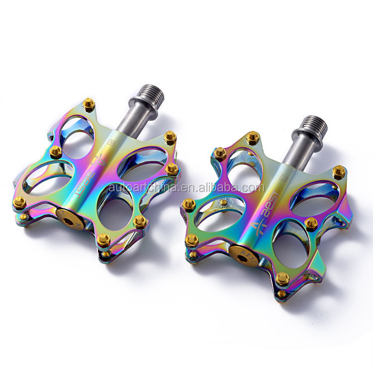 Extreme Light Bike MTB Pedals Magnesium Body Titanium Axle Oil Slick Color Bicycle Pedal