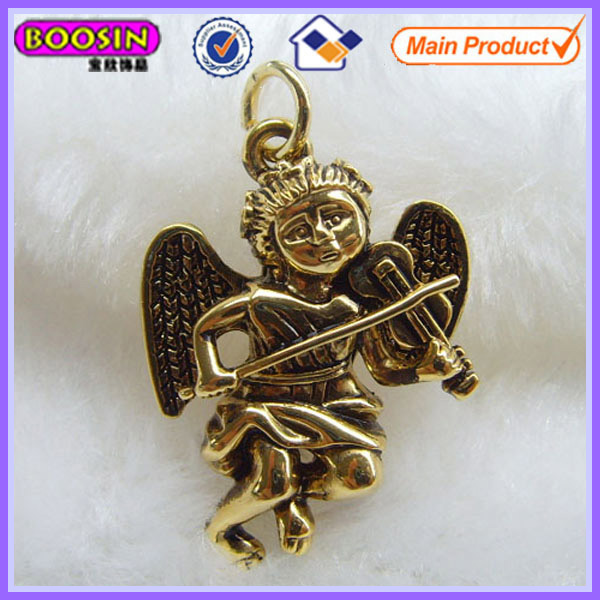 Gold guardian angel charm/metal angle jewelry #18367