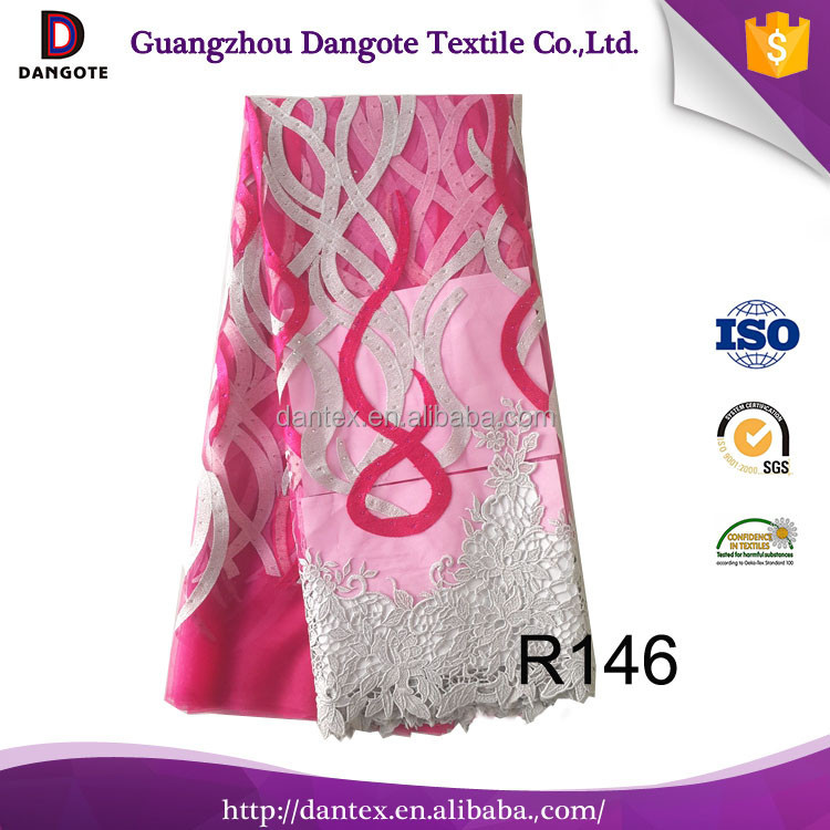 Fushia color african french lace / fashion guipure lace/chemical lace with stones for bridal dress