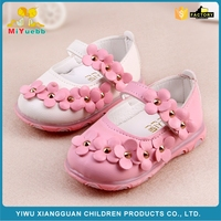 New fashional flower design soft TPR sole led leather baby kids dress shoes in bulk