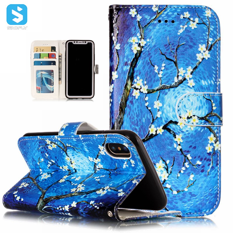 for iPhone X print pu leather wallet case cover with card slots