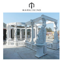 carved natural marble stone gazebo design