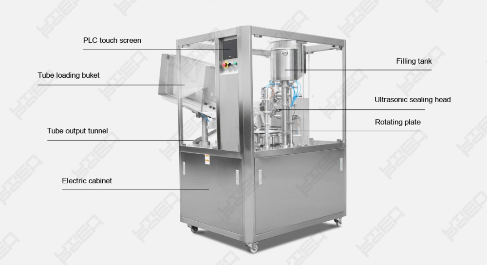 Rotary auto tube sealer machine, filling lotion gel shampoo cosmetics