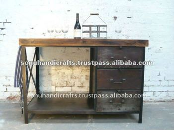 INDUSTRIAL METAL TABLE RUSTIC FURNITURE