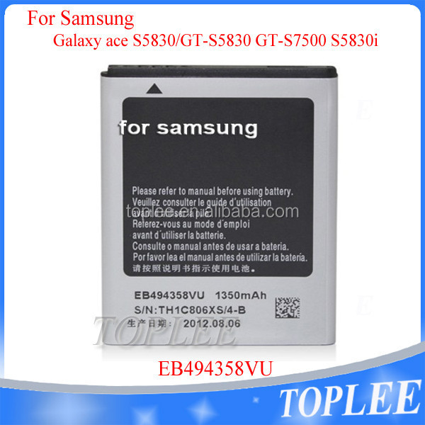 2016 High Capacity Quality Wholesale Manufacturer 3.7V 1350mAh cell phone battery EB494358VU for Samsung Galaxy ace S5830