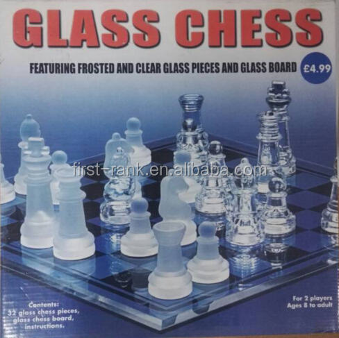 New sales board game with crystal glass chess for children and adults