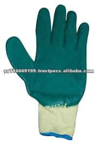 Hot Selling Green Cotton Lined Rubber Gloves