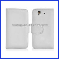 Book Style Leather Wallet Case for Sony Xperia Z L36H, 2 Slots for Credit Cards, 1 Slot for Money