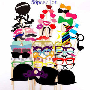 Fashion 58Pcs DIY Photo Booth Props Set of Wedding Party Photobooth Funny Masks Bridesmaid Gifts For Wedding Decoration Favor