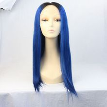 Virgin Brazilian Ombre Hair lace wig Straight Colored 1b/blue two Tone human Hair full lace wig