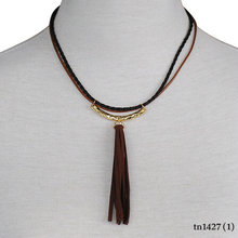 Western jewelry long tassel strap leather necklace