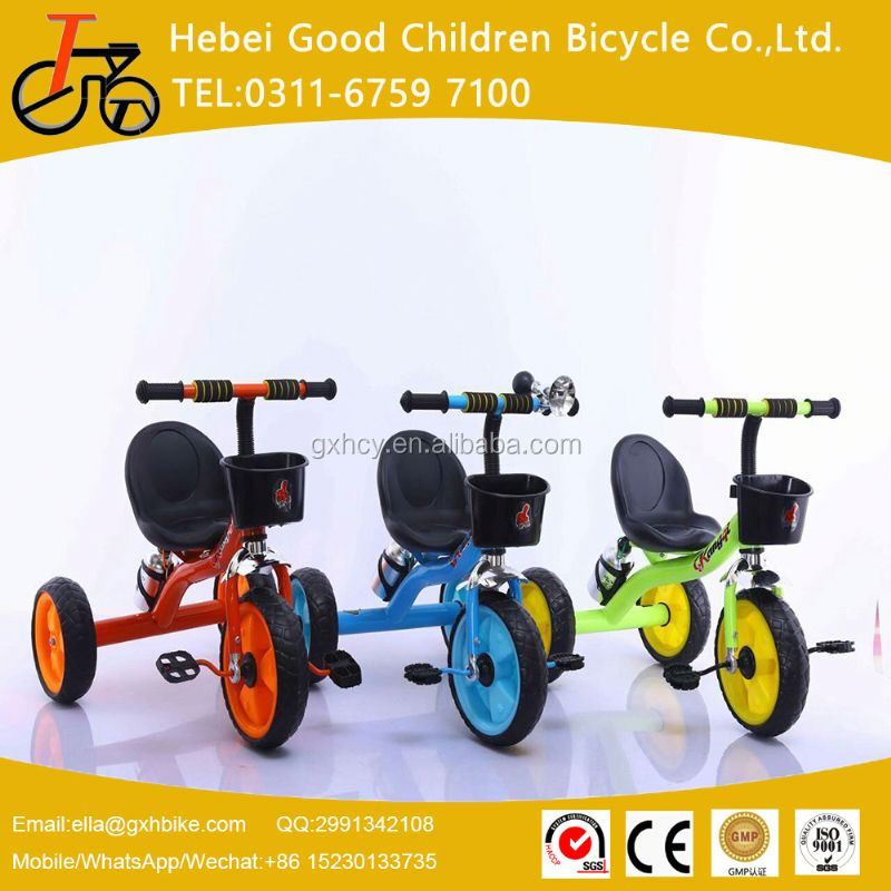 Chinese factory price wholesae baby ride on toy plastic fold tricycle