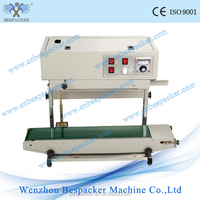 FR-900LW Vertical type continuous heat sealer continuous poly bags band sealer machine aluminum foil bag sealer with date print