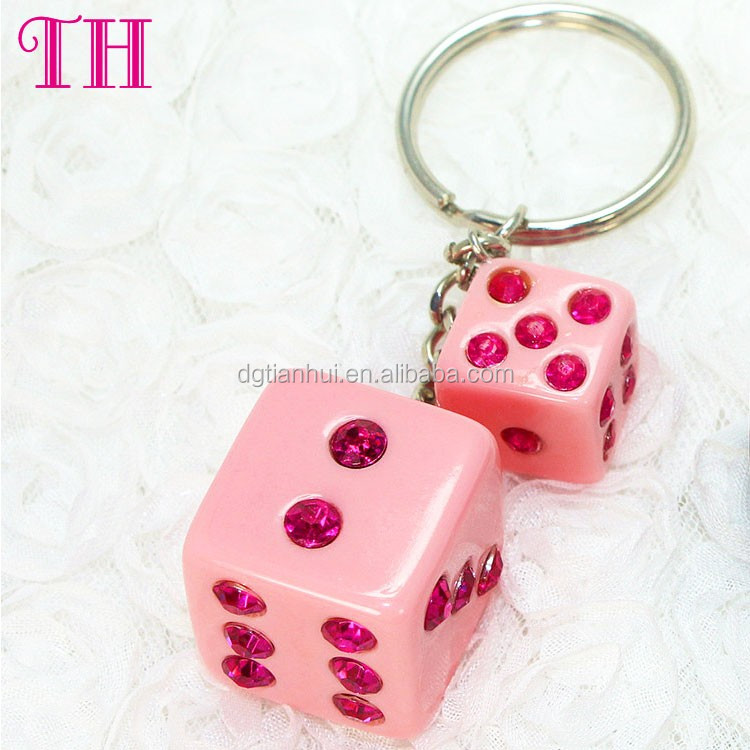 Free sample promotional gifts resin crystal number dice shape custom metal key ring