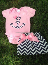 hot sale summer chevron baby clothes set cute baby wear