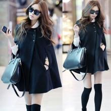 2016 China Supplier Ladies' Beautiful Half Sleeve Winter Poncho Coats