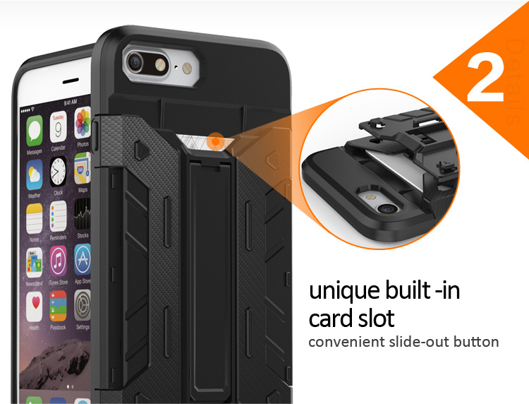 Wholesales phone case with card holder for apple for iphone 8,card slots case for iphone 8,for iphone 8 card holder case