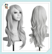 Long Wave Adult Womens Cosplay Party Grey Synthetic Wigs HPC-1982