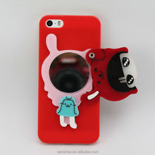 Wholesale Cartoon Lovely Girl Design TPU Cell Phone Case With Mirror For iPhone 5S, Fancy Mobile Phone Housings For Girls