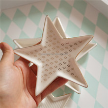 Star Shaped White Ceramic Stackable Jewelry Serving Trays With Decal