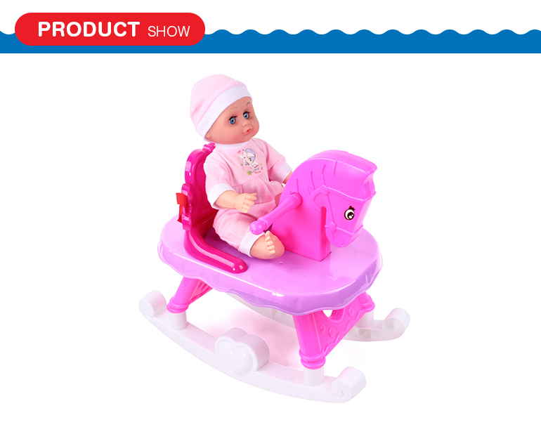 Shantou toys cute design animal shape musical plastic baby rocking horse with doll