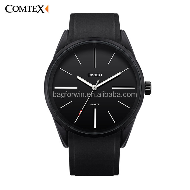 COMTEX Male Top Brand Luxury Simple Fashion Casual Wristwatches Black Quartz Silicone Waterproof Mens Wrist Watch