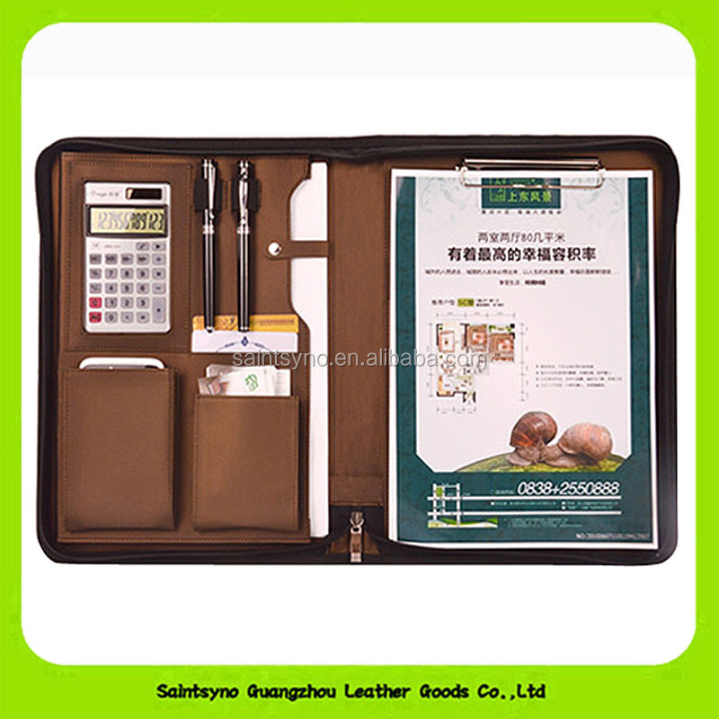 15029 Business zipper PU leather portfolio a4 documents folder cases manager bag Tablet PC mobile padfolio binder