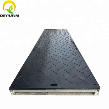 Temporary UHMWPE composite ground protection mats for heavy duty road