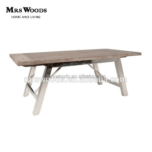 european style recycled wood top rectangular stainless steel dining table