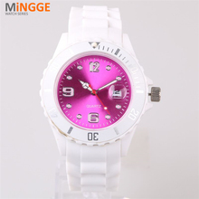 Stylish whosale silicone ladies watch, silicone wristband women watch
