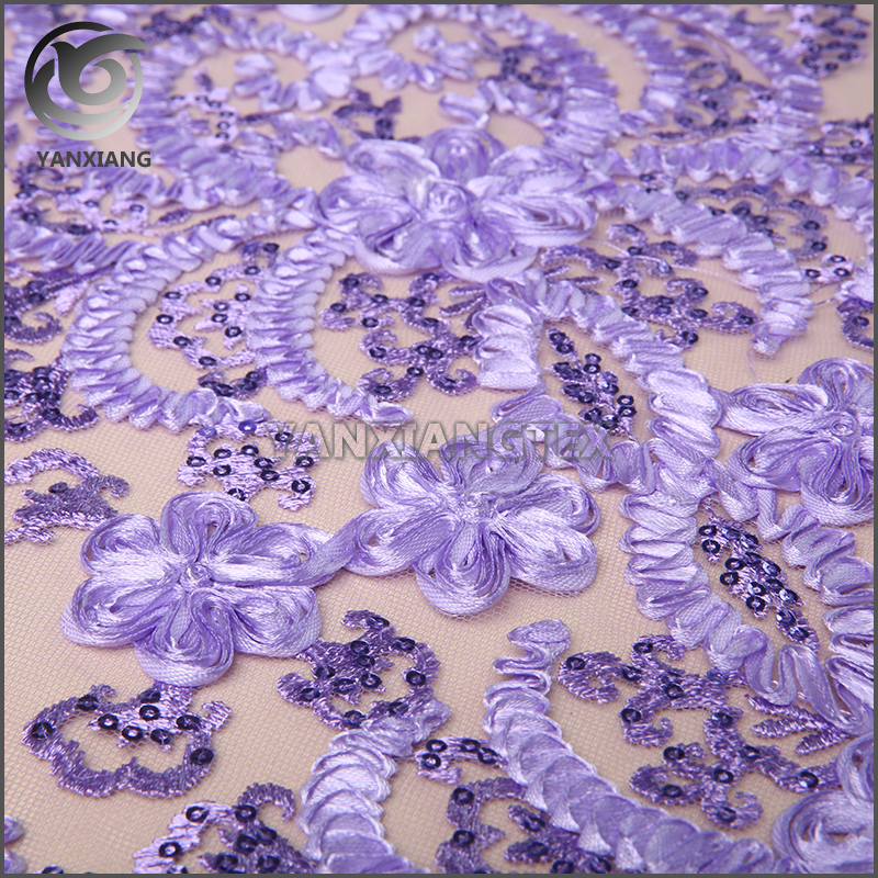 Best selling durable using Purple sequin tape embrodiery fabric