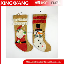 2015 hot item santa snowman design burlap christmas stocking wholesale