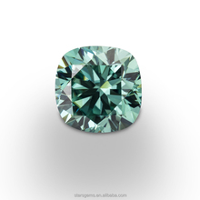 Lab made diamond cushion cut 7*7mm green color loose moissanite for engagement rings