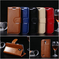 High quality wax oil wallet stand leather case for Samsung galaxy S4 i9500