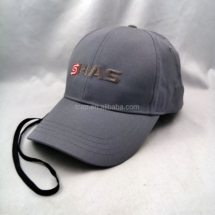 Flat Embroidery Design Hat 6 Panel Cotton Baseball Cap Plastic Buckle With Rope