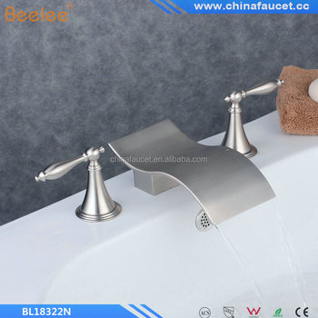 Nickel Brushed Finish Two Handles Three Holes Bathroom Waterfall Basin Mixer Vessel Faucet Tap Contemporary Waterfall Brass