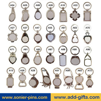 Wholesale various shaped keychain blank metal souvenir key chain