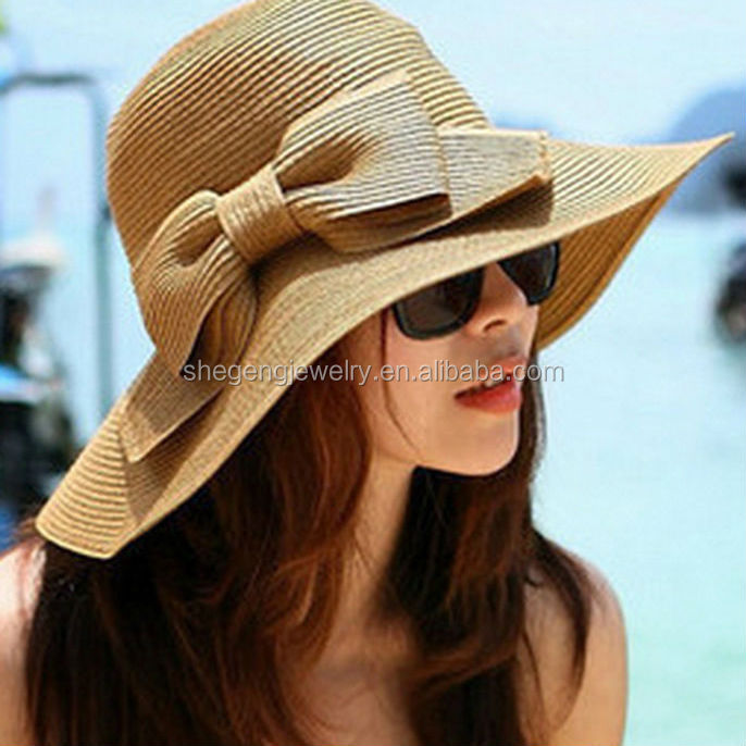Women Large Wide Brim Floppy Beach Sun Visor Shade Straw Hat