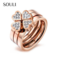Chinese titanium steel jewelry heart-shaped rose gold plated wedding ring set