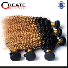 cheap natural Kindy curl ombre color 100% virgin remy indian human hair weave indian hair weft