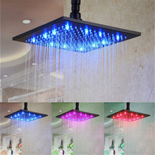 Hight Quality Bathroom Water Temperature Detectable 3Colors LED overhead Shower(Blue, Pink, Red color for temperature sensor)