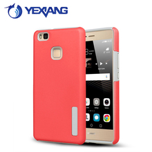 candy color pc tpu hard armor case for huawei p9 lite back cover with stand