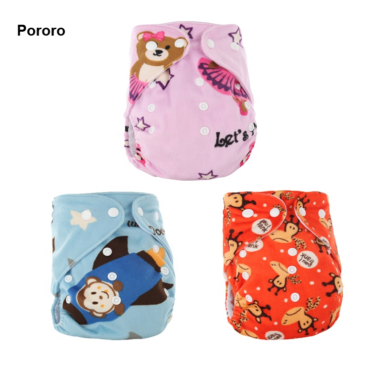 Wholesale Wasbable Organic Print Minky Soft Fabric Cloth Diaper With Low Price