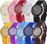 Colorful Women Silicone Rubber Jelly GENEVA Dress Watch