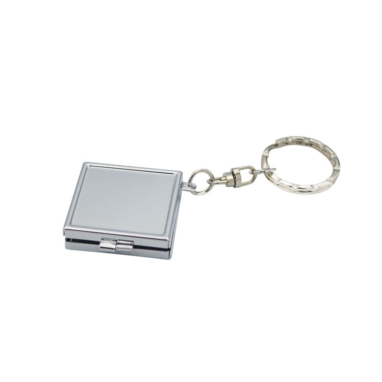 Wholesale small folding portable handbag pocket mirror metal blank square shaped keychain compact mirror