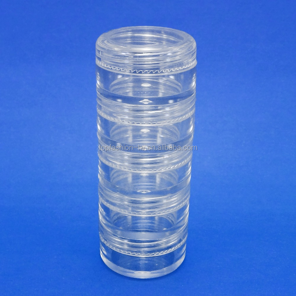 60 set 5 Stacked Storage Packaging Mini Clear Plastic Jar Travel Sample Case <strong>10</strong> <strong>g</strong> (AY81P(<strong>10</strong>)(5 stacked)-C=60 sets)