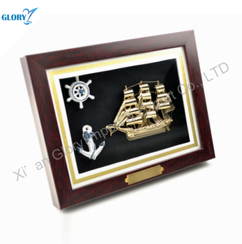 New Design Customized Sail Boat Model Wooden Landscape Box For Souvenir